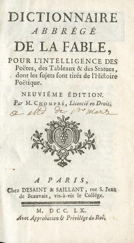 <em>Dictionnaire abbrégé de la fable</em>
