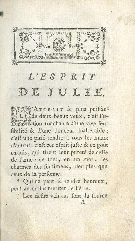 L'esprit de Julie, ou, extrait de la nouvelle Héloïse