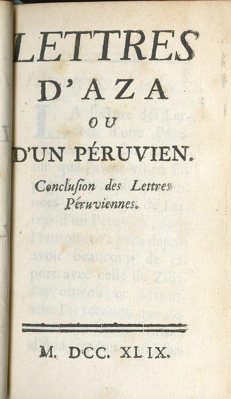 <em>Lettres d'Aza ou d'un péruvien</em>