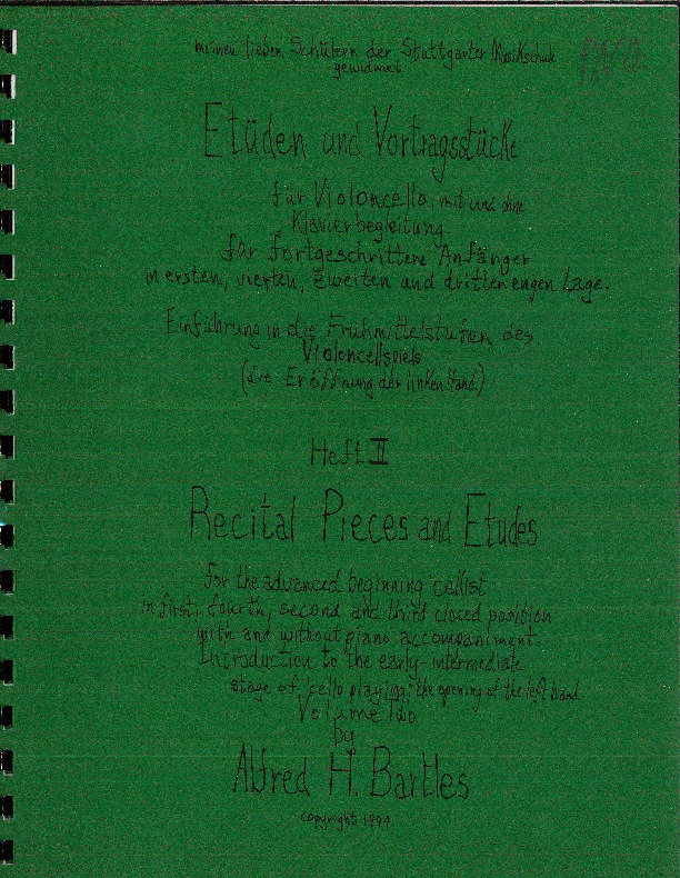 Recital Pieces and Etudes for the Advanced Beginning Cellist