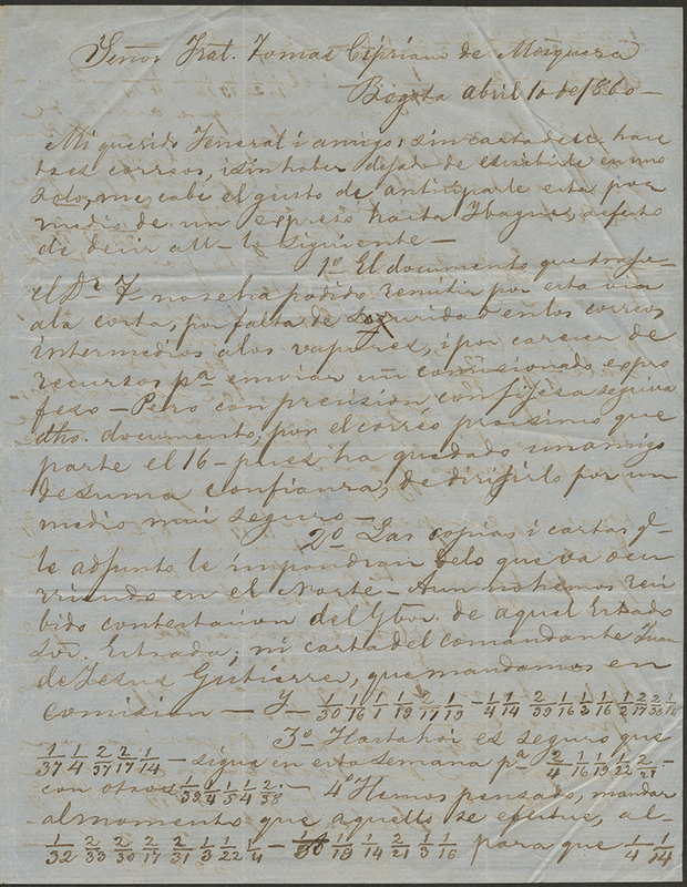 [Encoded Letter Written to Tomás Cipriano de Mosquera]