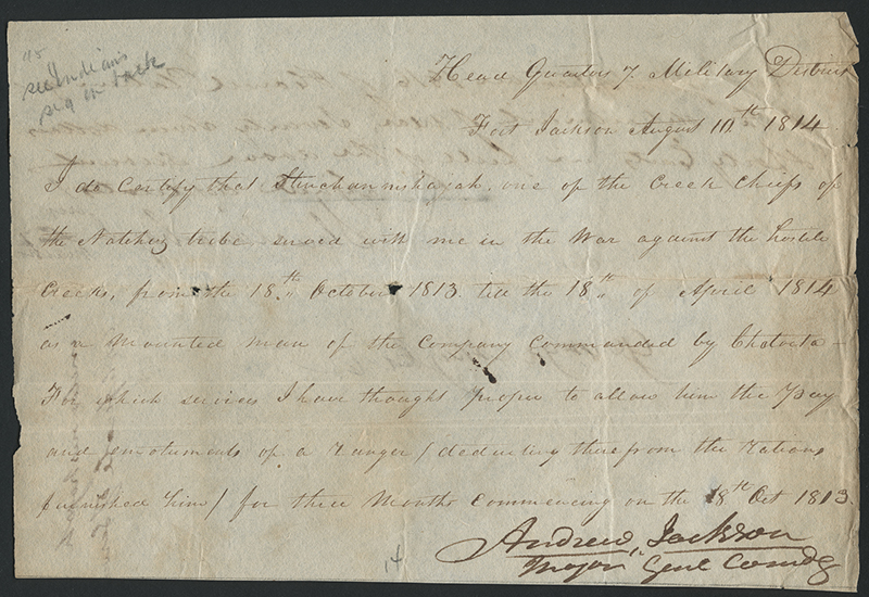 [Andrew Jackson Letter Concerning Compensation for Creek Chief Stinchannishajah]