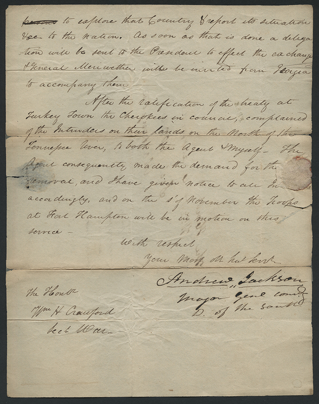[Letter to William Crawford on Chickasaw and Cherokee Land Claims]