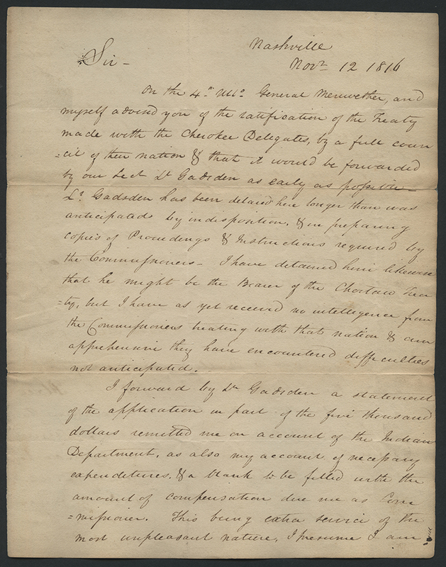 [Letter to William Crawford Concerning Cherokee Treaty]