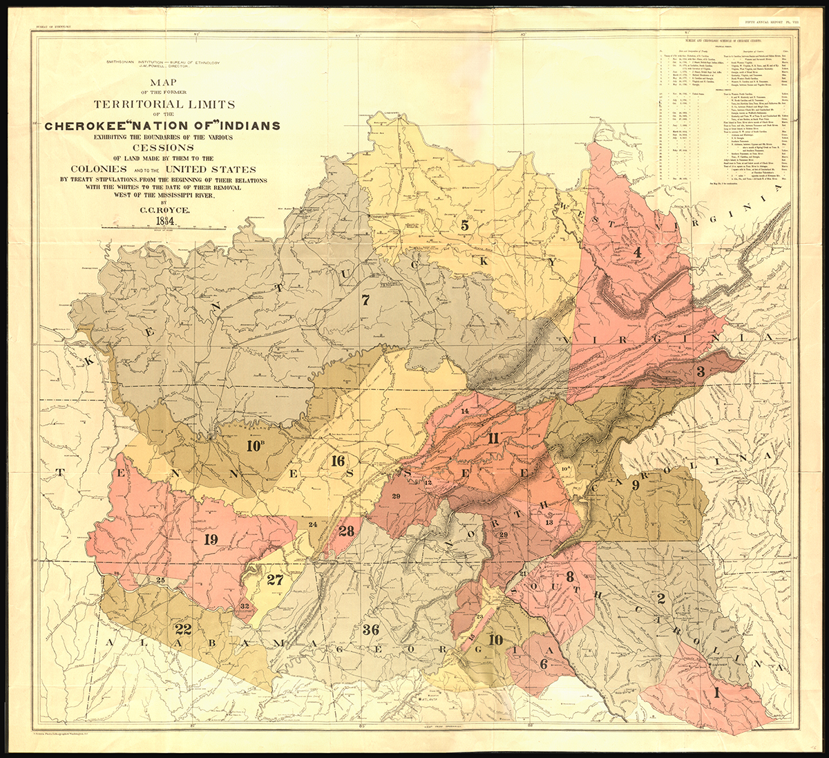 Map of Former Territorial Limits of the Cherokee 'Nation of' Indians