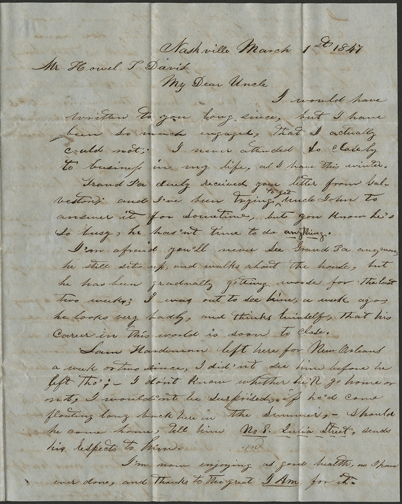 [Letter to Howell Tatum Davis, March 1, 1847]
