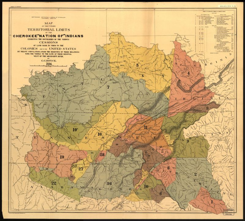 Royce - 1884 - Map of the former territorial limits of the Cherok Plate VIII.jpg
