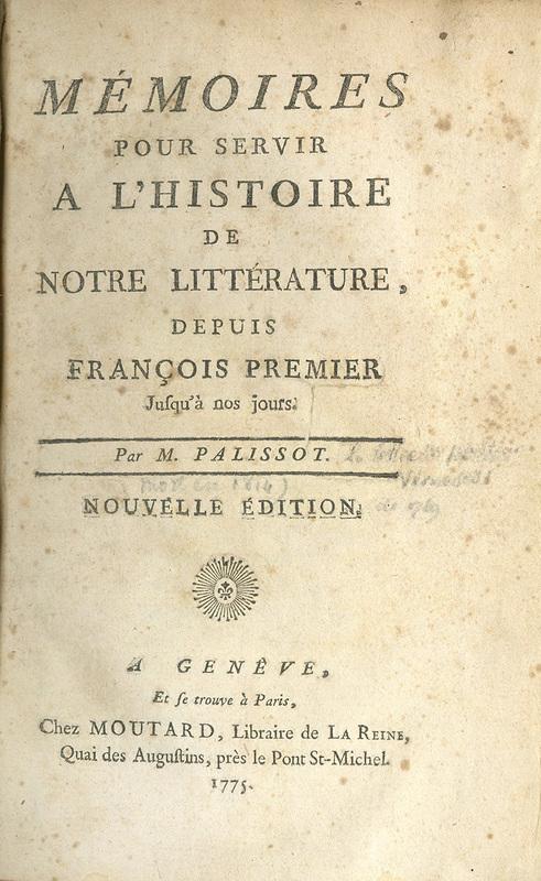 <em>Mémoires pour servir a l'histoire de notre littérature</em>