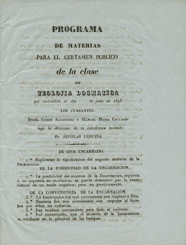 Colección de Programas para los Certamenes Públicos que las Clases de la Universidad de Cauca