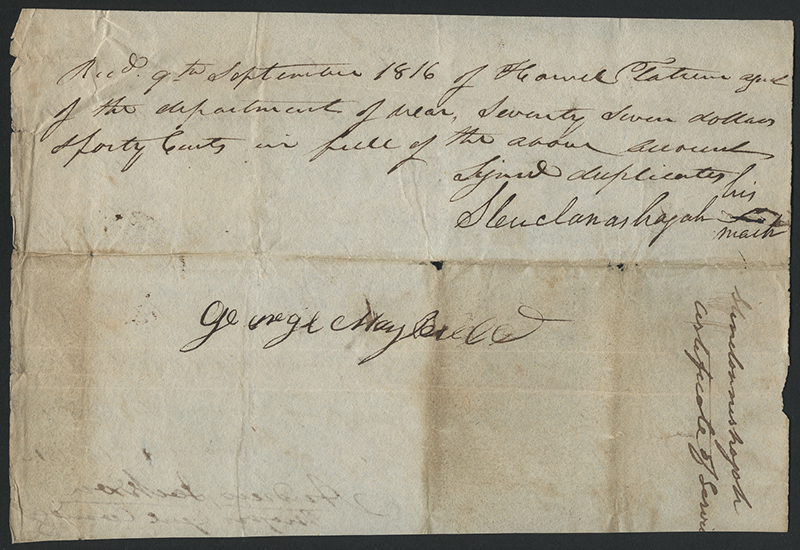 [Andrew Jackson Letter Concerning Compensation for Creek Chief Stinchannishajah]