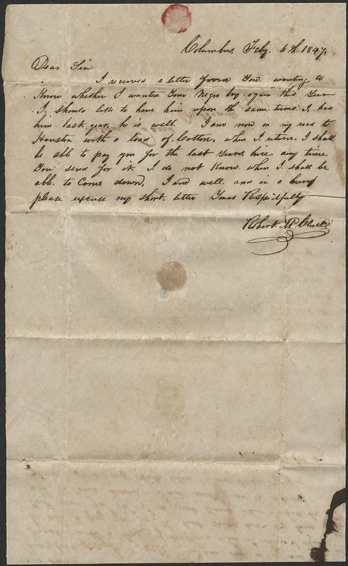 [Letter to Howell Tatum Davis, July 6, 1847]