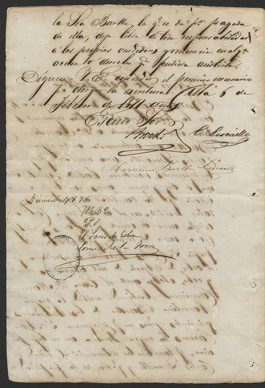 [Sale of Slaves between Brooks and Company and Marcelina Barthe Lescaille]