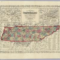 A New Map Of Tennessee With Its Roads And Distances from place to place along the Stage & Steam Boat Routes