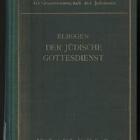 Der Jüdische Gottesdienst in Seiner Geschichtlichen Entwicklung