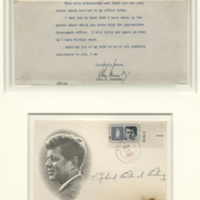 [Letter, First Day Cover and Piece of Catafalque]
