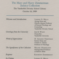 [Program in Commemoration of the Mary and Harry Zimmerman Judaica Collection]